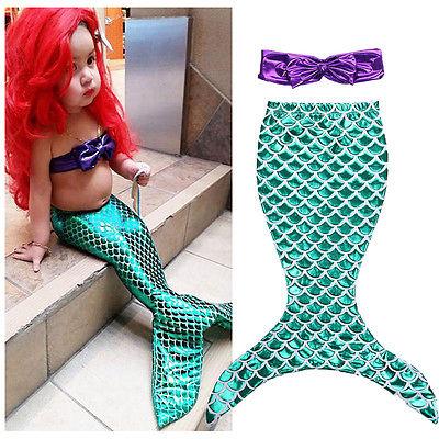 girls clothes summer dress Children Baby Girls the Little Mermaid Tail Bikini Suit Swim Swimwear Costume(China (Mainland))