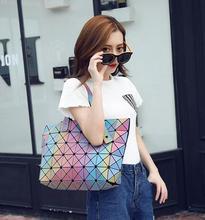 New 2016 Famous Brand Bao bao Bag women Diamond Lattice Tote geometry Quilted shoulder bag sac bags handbags Rainbow Bag