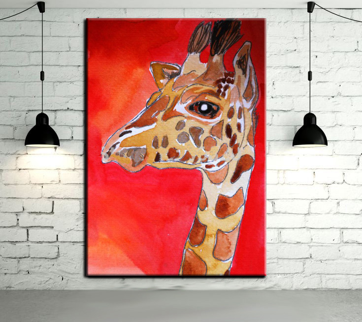 Modern Abstract Animal Art Hang Pictures Handpainted Lovely Baby Giraffe Oil Paintings Canvas Wall Pictures Room Decor