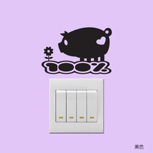 Switch stickers animal wall stickers children's room wall stickers affixed waterproof interior socket funny pig decals(China (Mainland))