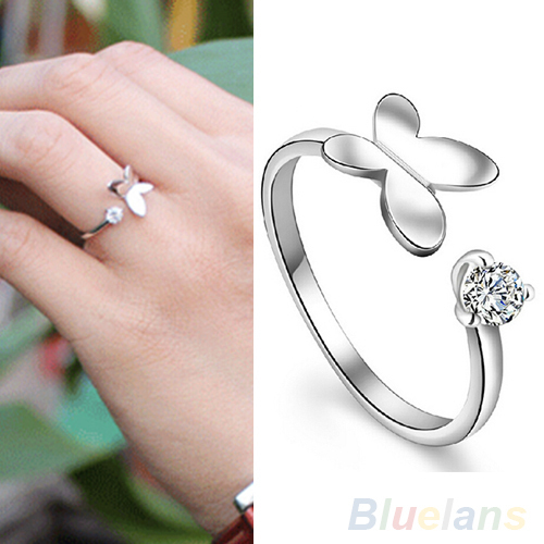 Women's Fashion Silver Plated Rhinestone Gift Adjustable Butterfly Opening Ring 1SIL(China (Mainland))