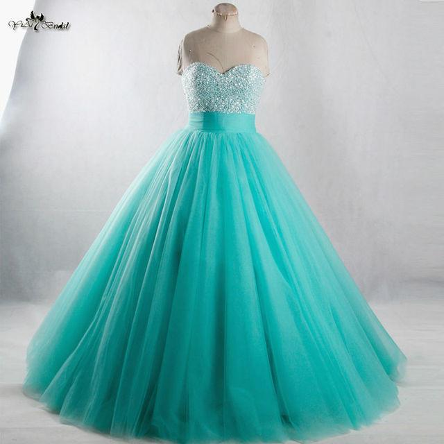 RSE944 Длинные Сладкие 16 Платья Mint Зеленый Пышное платье