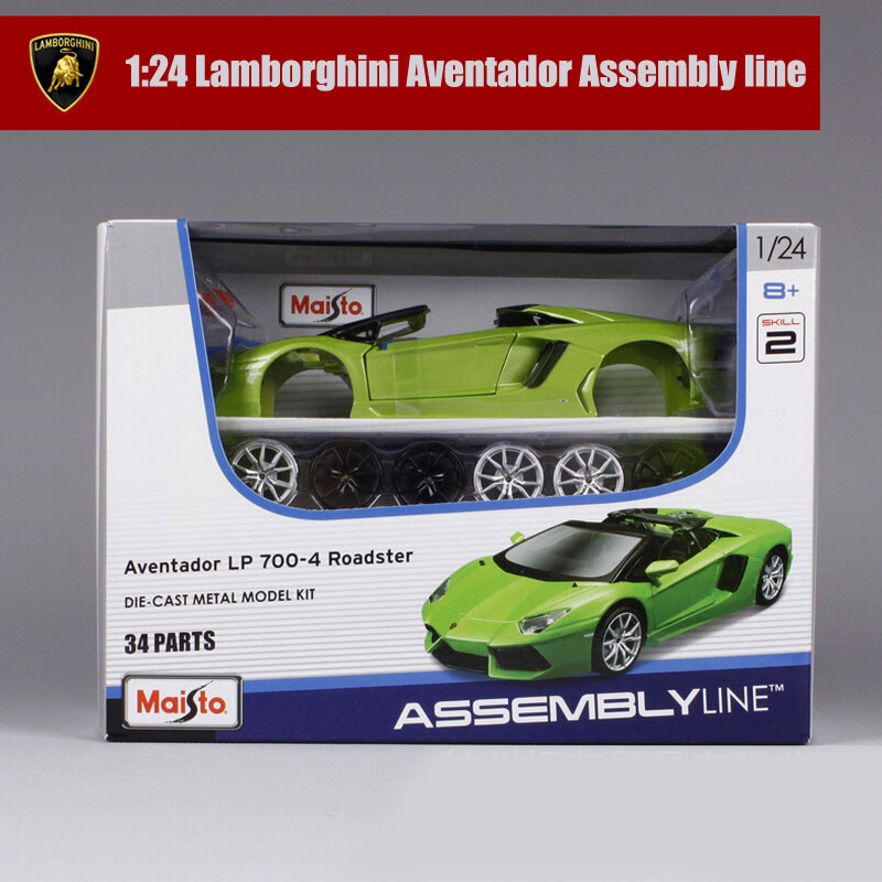 1:24 Scale Maisto Aventador Cherokee race car metal diecast kit assembly line autoart collection gift car models educational toy(China (Mainland))