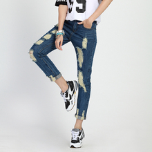 Women Denim Pants 2016 New Spring Blue Women Ripped Jeans Female Fashion Casual Cuffs Pencil Pants Distressed Trousers S-2XL