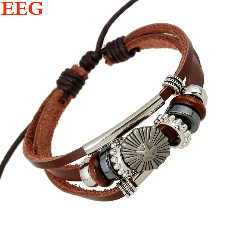 2015 Vintage Punk Style Pentagram Charm Bracelets For Women Men Interspersed Braided Multilayer Leather Bracelets Diy Handmade(China (Mainland))