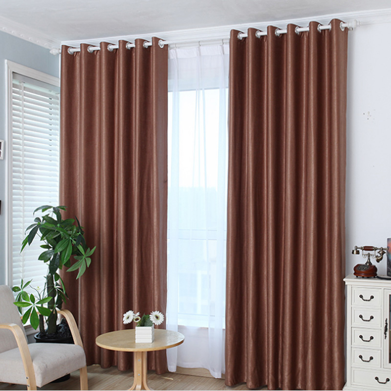 1 PC Hot Sale Upscale Jacquard Yarn Curtains Solid Grommet Window Living Room Bedroom Curtain Blue Curtains for Living on Hooks(China (Mainland))