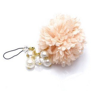 $10 Free shipping, SW1762 ,Fashion sweet chiffon flower pearl beads mobile phone strap/cell phone chain  69084