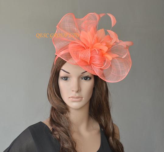 Coral Pink Big Sinamay Fascinator Hat For Melbourne Cup