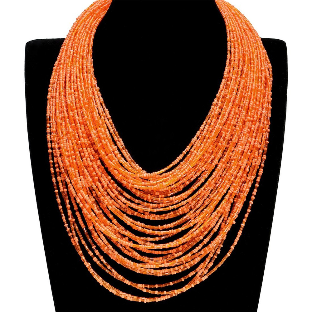 Bohemia Hot Sale New Style Golden Long Chain Handmade Colorful Beads Broad Pendant Multi Chains Bib Orange Necklaces For Women(China (Mainland))