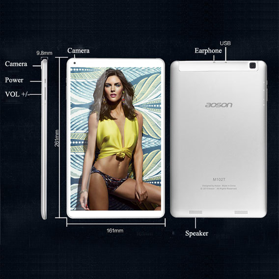 Aoson 102T 3G Quad Core Android Tablet Phone 10 1 Inch IPS 1280x800 MT8382 1 3GHz