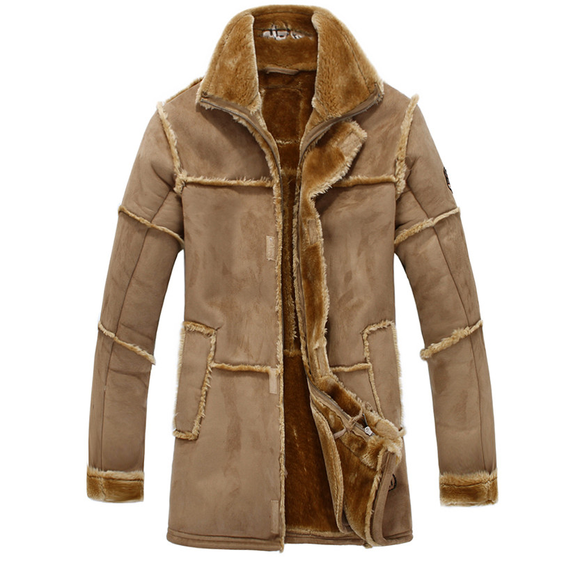 HOT SALE Men's Winter Warm Pilot  Bomber Leather Jacket Wool Thickening Trench Outwear