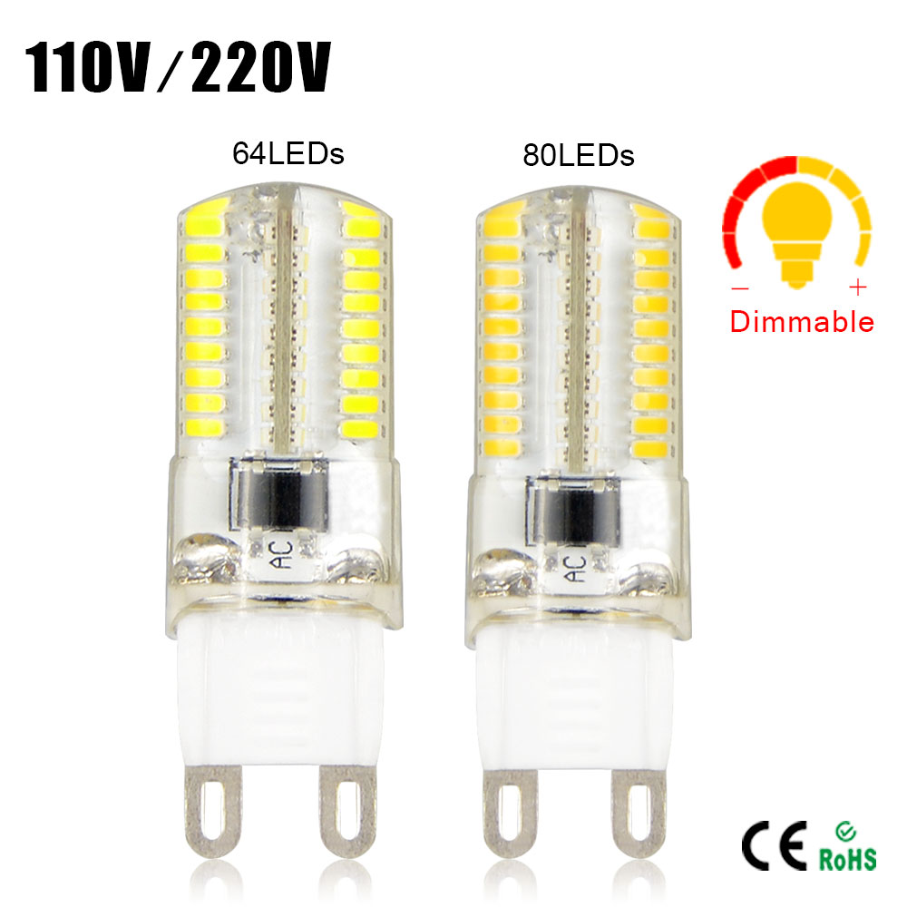 1X Dimmable 110V / 220V 6W 7W Silicone G9 LED Corn lamp 64/ 80 LEDs Spotlight Bulb For Crystal Chandelier Replace Halogen light(China (Mainland))
