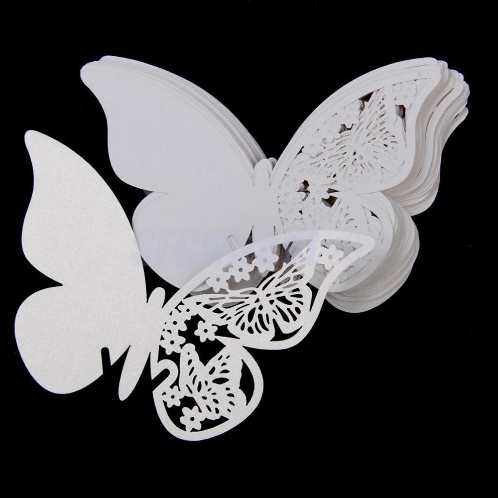 New 50pcs Butterfly Place Escort Wine Glass Cup Paper Card for Wedding Party Home Decorations White