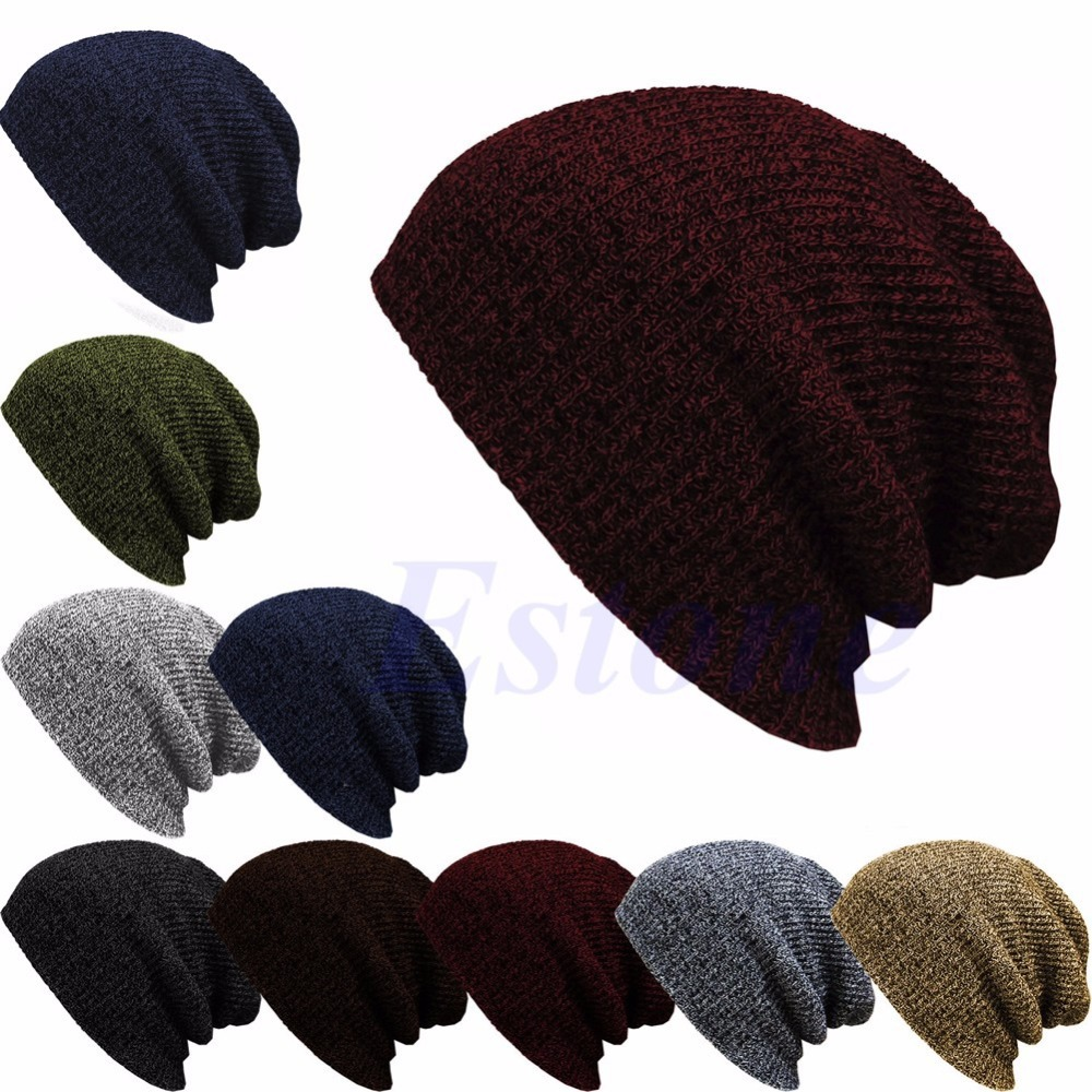 Winter Casual Cotton Knit Hats For Women Men Baggy Beanie Hat Crochet Slouchy Oversized Ski Cap Warm Skullies Toucas Gorros-S117(China (Mainland))