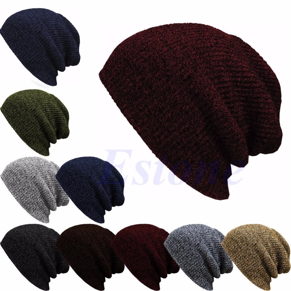 Winter Casual Cotton Knit Hats For Women Men Baggy Beanie Hat Crochet Slouchy Oversized Ski Cap Warm Skullies Toucas Gorros-S117(China (Mainland))