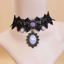 Womens New Handmade Purple Cameo Flower Rose Resin Pendant Alloy Black Lace Choker Short Necklace Party Collar Gothic Vintage