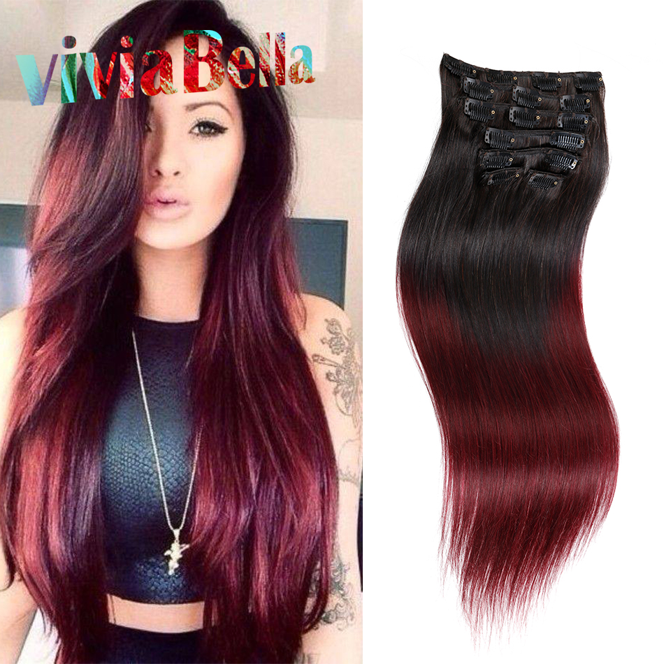 Red Ombre Clip In Hair Extensions 60