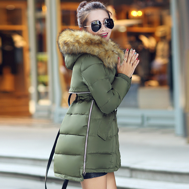 2015 Winter warm Women Parka Outerwear New Duck Large Fur Hooded Jacket plus Size 2XL Thermal Long Designer Coat Army Green