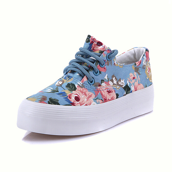 2015 Women Fashion Sneakers on Platform Cheap Flower Walking Platform Shoes Thick Sole Canvas Adult Casual Sneakers ; S100804(China (Mainland))