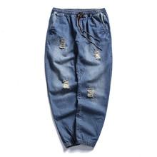 Cowboy Ripped Jeans Loose Elastic Vintage Slim Paris Men s Jeans Hip Hop Motorcycle Jeans Denim
