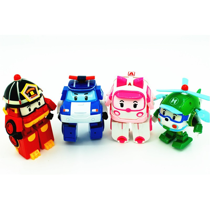 4pcs/Set Transformation Robocar Poli Robot Car Toy Korea Robocar Toys Anime Action Figure Kids Gifts(China (Mainland))