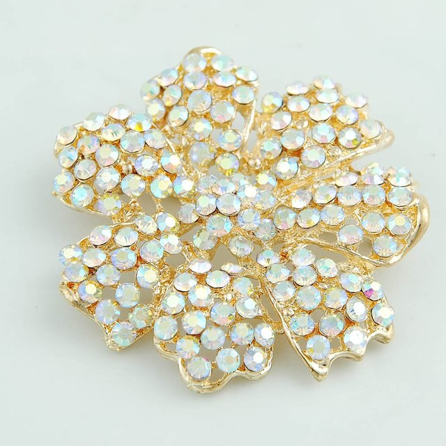 free shipping Beautiful, fashionable flower alloy with diamond  brooch