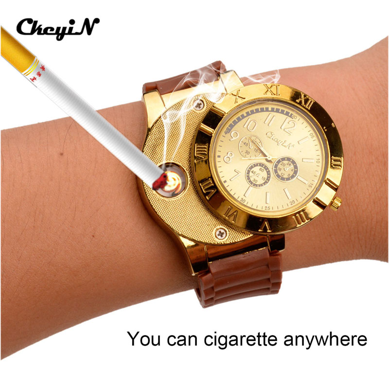 2015 Fashion Luxury Top Brand Military USB Lighter Watch Men's Casual Quartz Wrist watches with Flameless Cigar Lighter -P00(China (Mainland))