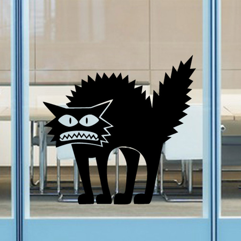 Foreign Trade Explosion Models Halloween Thriller Cat Stickers Personalized Festive Glass Decorative Wall Sticker(China (Mainland))