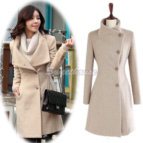 New fashion Women Winter Coat Jackets Collect Waist Worsted Long Sleeve Medium Long Overcoat Woollen Coat 34(China (Mainland))