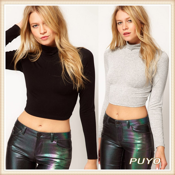 Free Shipping Sexy Women Long Sleeve Crop Top Solid Turtle Neck T Shirt Night Club Sexy Midriff Tops Plus Size 17459(China (Mainland))