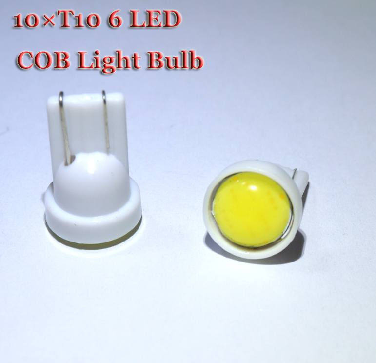 10pcs/lot T10 194 168 W5W 6 LED COB Chip Car Door Light Clearance Lights, Wholesale Car Side Light Bulbs White(China (Mainland))