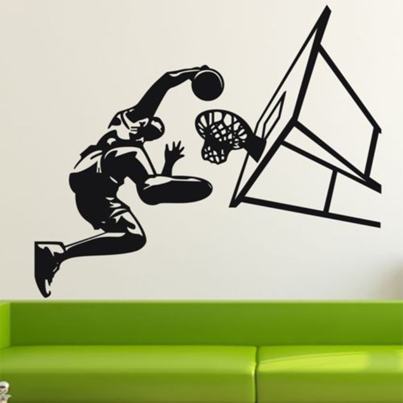 Free Shipping New Basketball Dunk Sport Wall Art Decal Vinyl removable wall Sticker pvc wall Mural home Decor(China (Mainland))