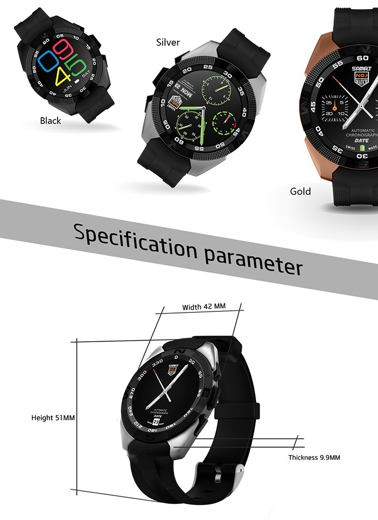 ถูก 2016ใหม่เดิมฉบับที่1 g5 smart watch mtk2502อัตราการเต้นหัวใจการตรวจสอบติดตามการออกกำลังกายโทรSMSเตือนกล้องระยะไกลสำหรับAndroid iOS