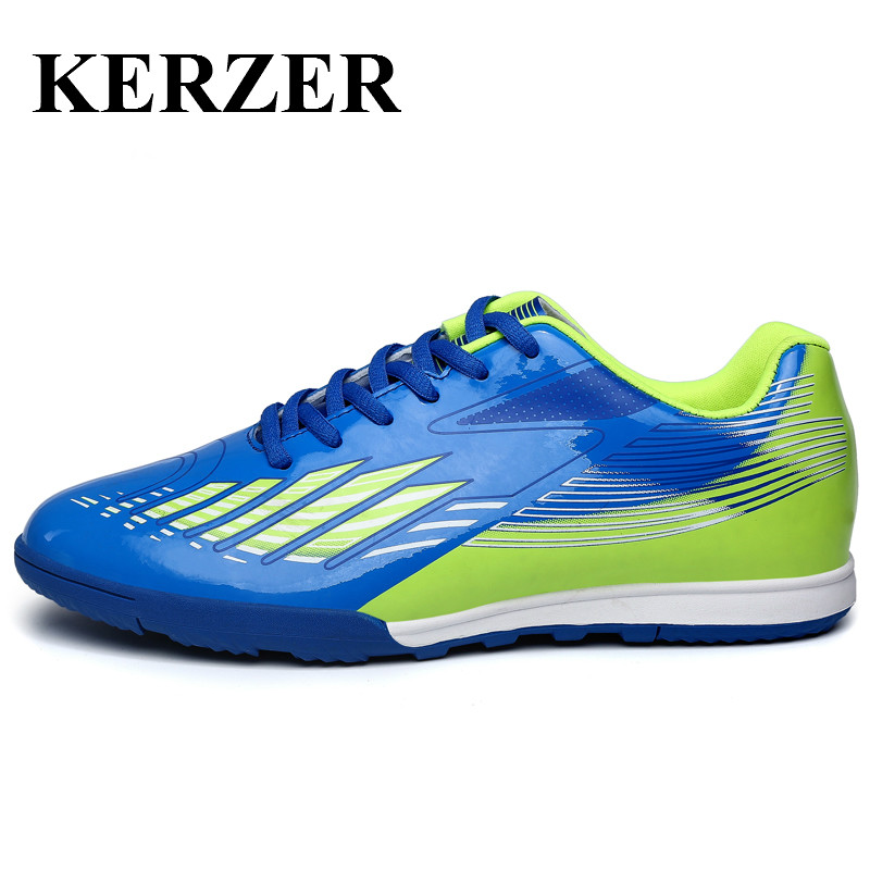 KERZER Soccer Shoes For Artificial Turf Cleats Leather Indoor Football Shoes Blue/Orange/Red Turf Boots Traning Football Sneaker(China (Mainland))