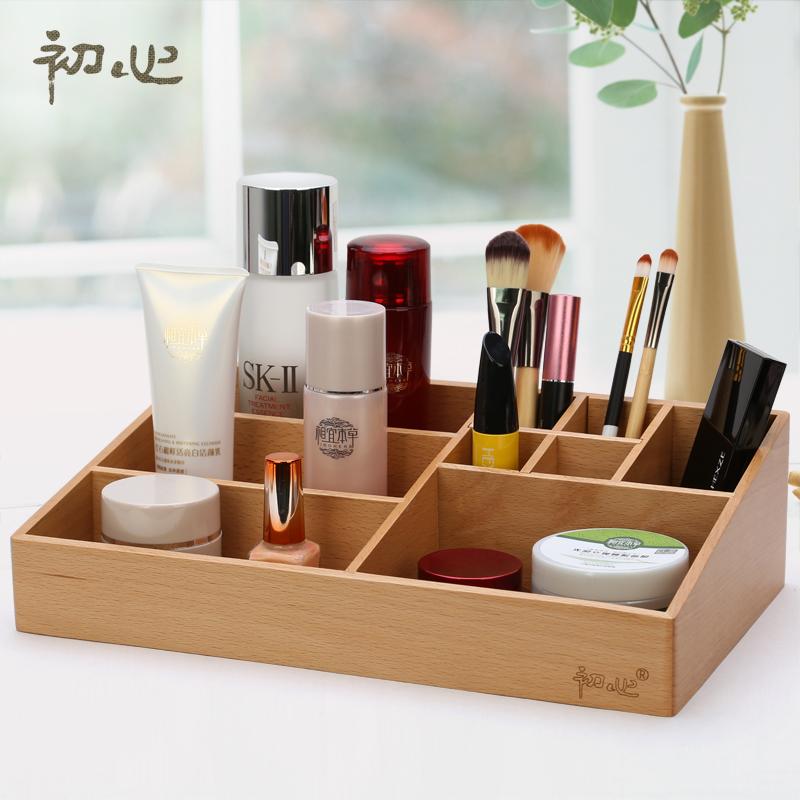 high quality beech makeup organizer storage box wooden. Black Bedroom Furniture Sets. Home Design Ideas