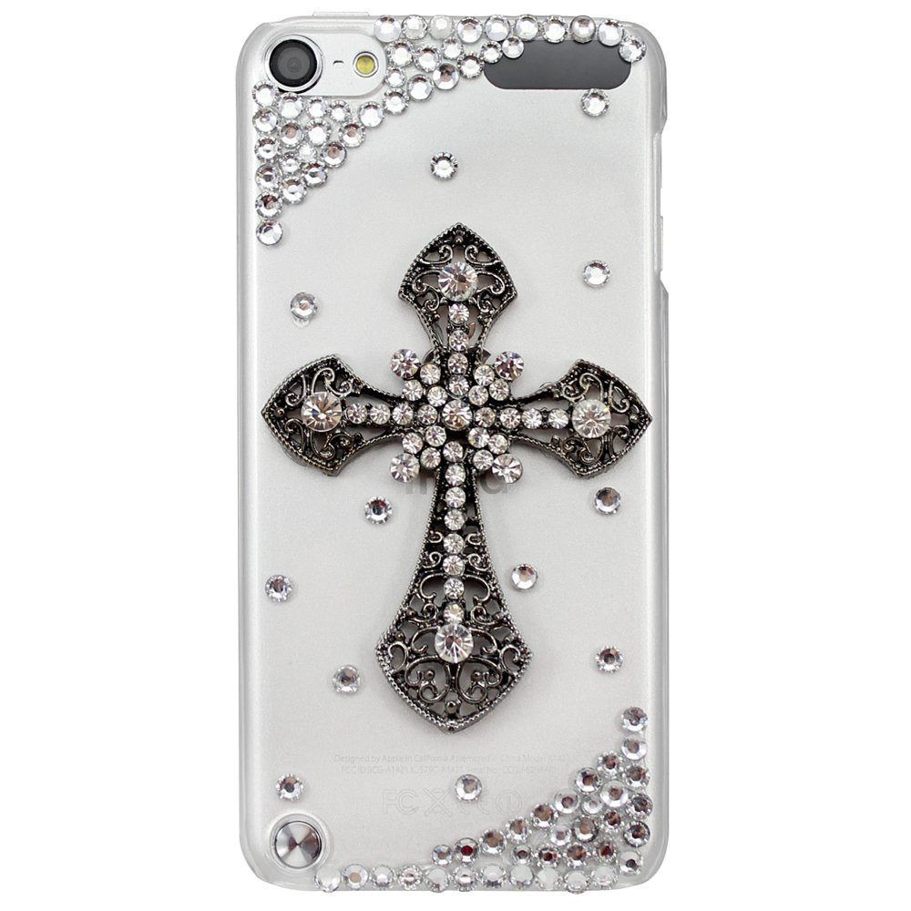 New Fashion Handmade Series 3D Bling Crystal Cross Transparent Clear Case Cover for Apple iPod Touch 5th Generation case(China (Mainland))