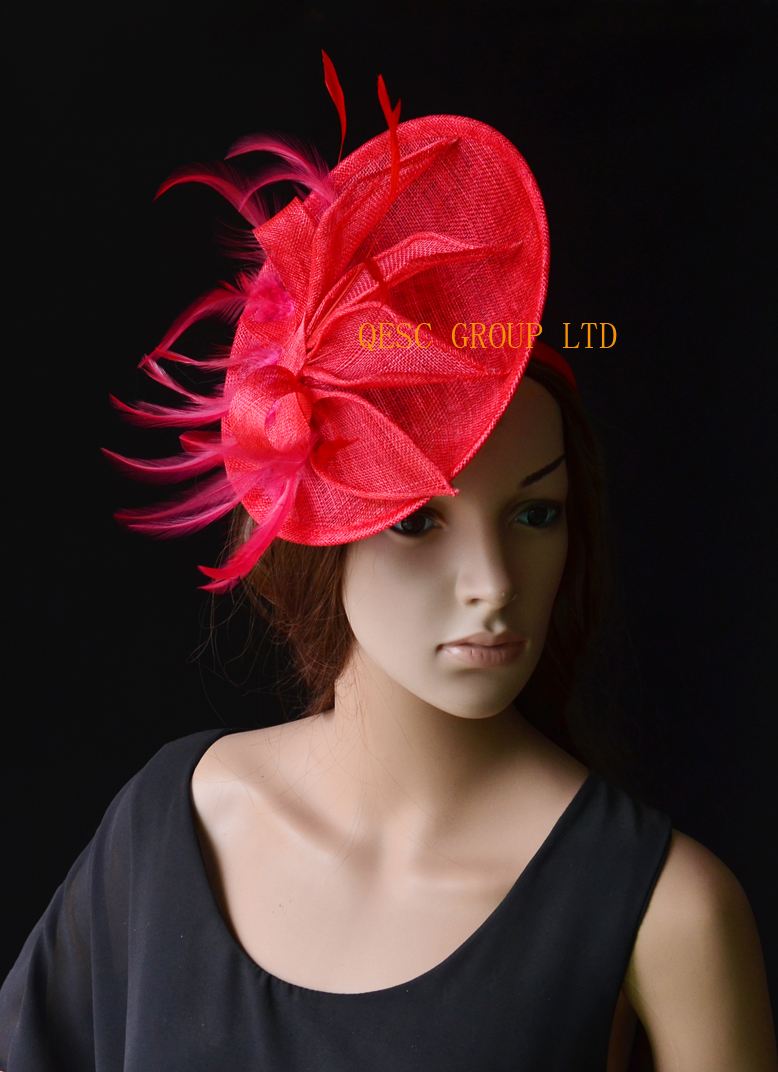 Red Big sinamay fascinator wedding hat with sinamay loops&feathers&handmade flowers for Royal Races Kentucky derby.(China (Mainland))
