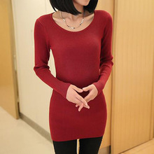 Women Sweaters 2015 Autumn Winter Pullovers Great Elasticity Sexy Tops Female Knitted Undershirt Girl O-Neck 8 Colors Black Gray(China (Mainland))