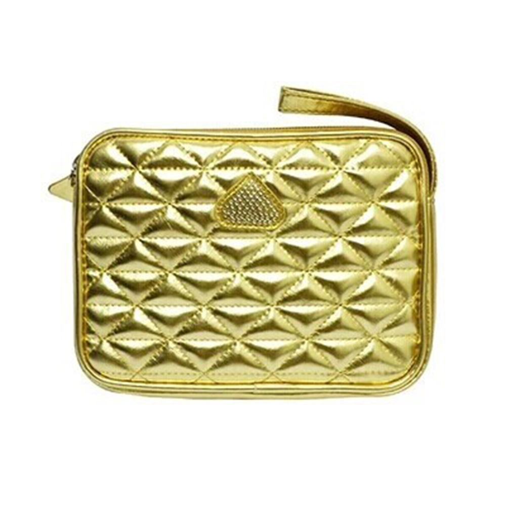 women's flap bag gold color plaid pattern makeup bag women leather Cosmetic Case zipper purse(China (Mainland))