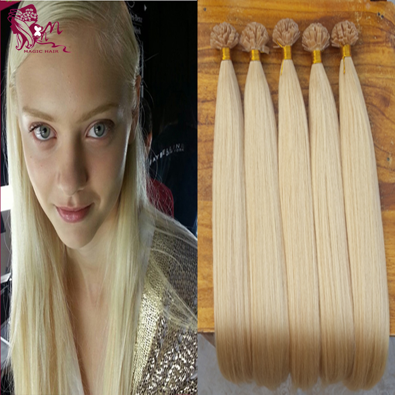 fusion hair extensions Flat tip hair pre bonded keratin hair extensions #60 Platinum Blonde straight hair on capsules 50g70g100g(China (Mainland))