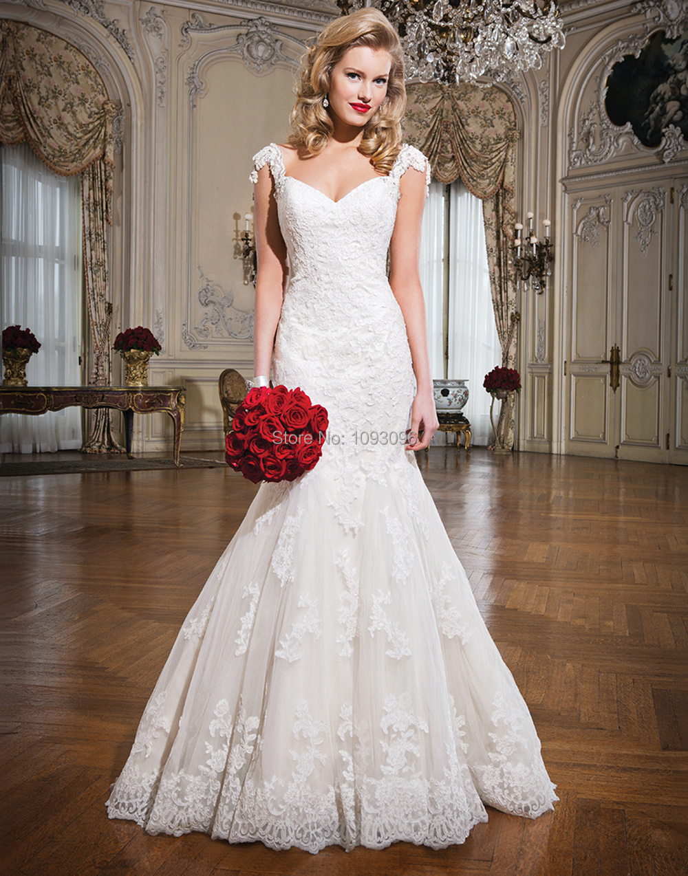 2015 New Hot Lace Applique Cap Sleeves Mermaid Backless Wedding Dress Bridal Gowns - I Do Dresses Company store