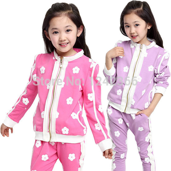 Baby Girl clothes coats Outerwear+pants sport suit autumn fashion Kids clothing stores flower girls tops bottoms baby stuff(China (Mainland))