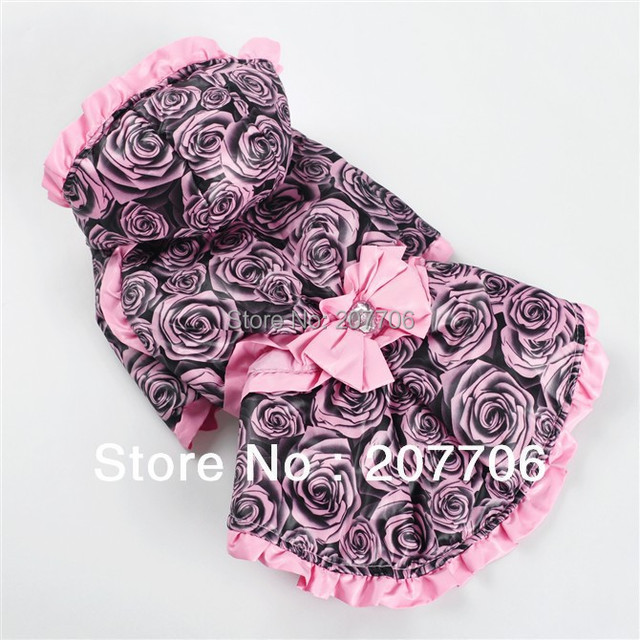 Noble Rose Bowknot Dog Dress For Winter,Dog Windbreaker,Great Quantity but Lower Price