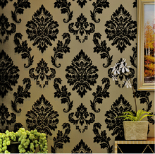 European Luxury Reliefs 3D Wallpaper Black Damask Floral Wall Paper Living Room Bedroom Wallpaper For Walls 3d papel de parede (China (Mainland))