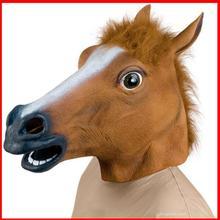 Nouveau cheval masque tête Creepy Halloween Costume Fur Mane Latex réaliste Gag gl - q2(China (Mainland))