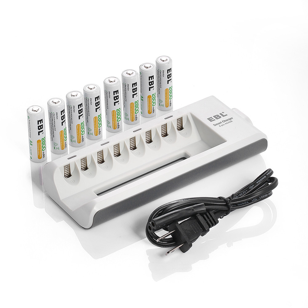 New Arrival 8 Bay AA/AAA Battery Charger + 8x 2800mAh NiMH Rechargeable Batteries EBL free shipping(China (Mainland))