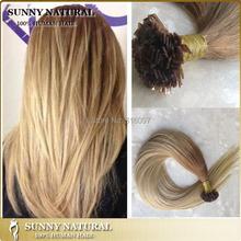 remy keratin flat tip human hair extensions flat tip fusion brazilian hair extensions(China (Mainland))