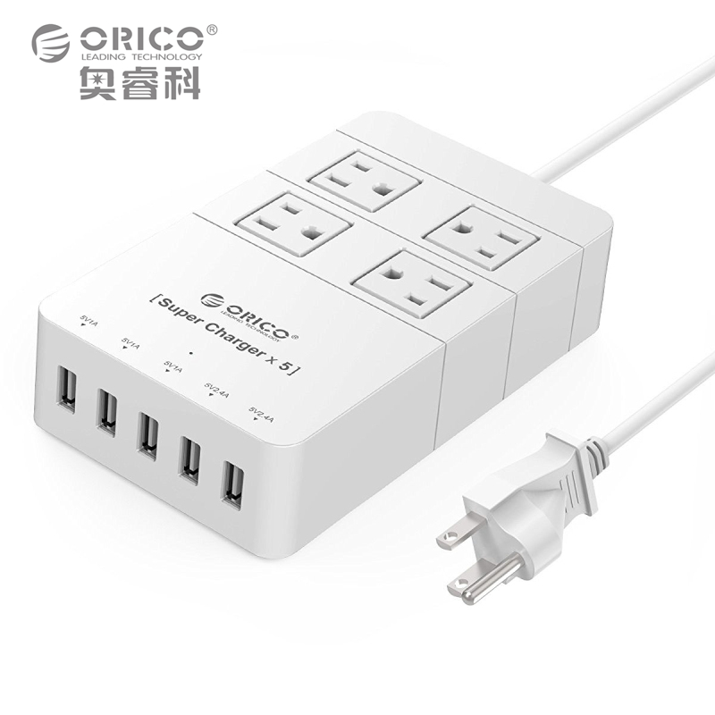 ORICO HPC-4A5U-US-WH travel surge protector Socket with usb power strip IC for Ipad Iphone (white)(China (Mainland))