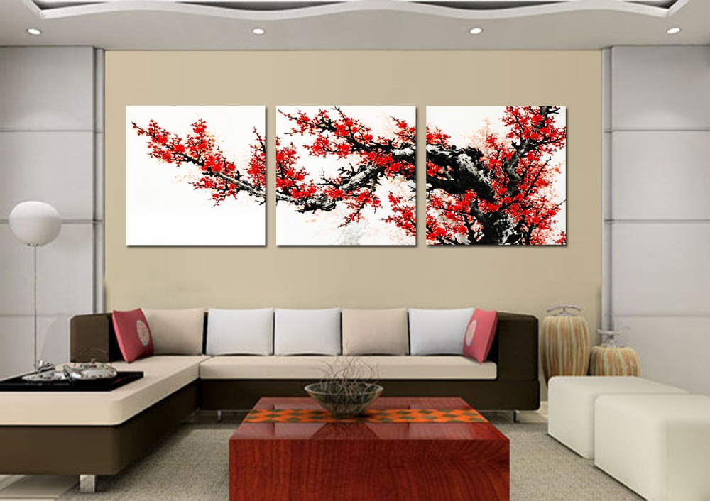Free Shipping 3 Panel Wall Art For Living Room The Plum Blossom Pictures Red