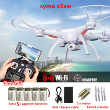 Syma X5SW FPV RC Quadcopter Drone with WIFI Camera 2.4G 6-Axis RC Helicopter drones with camera hd with 5 battery + 6in1 Cable